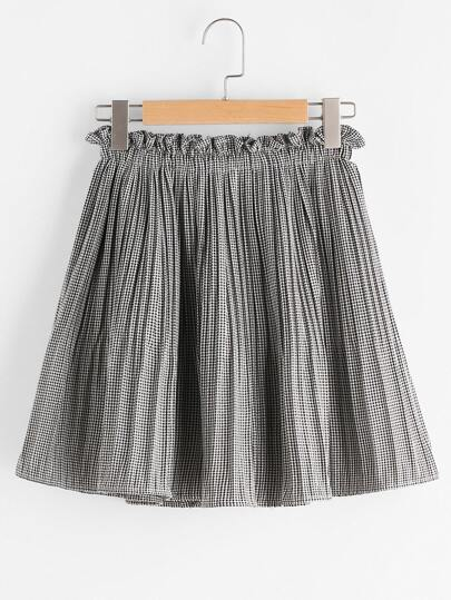 Gingham High Waist Shirred Skirt