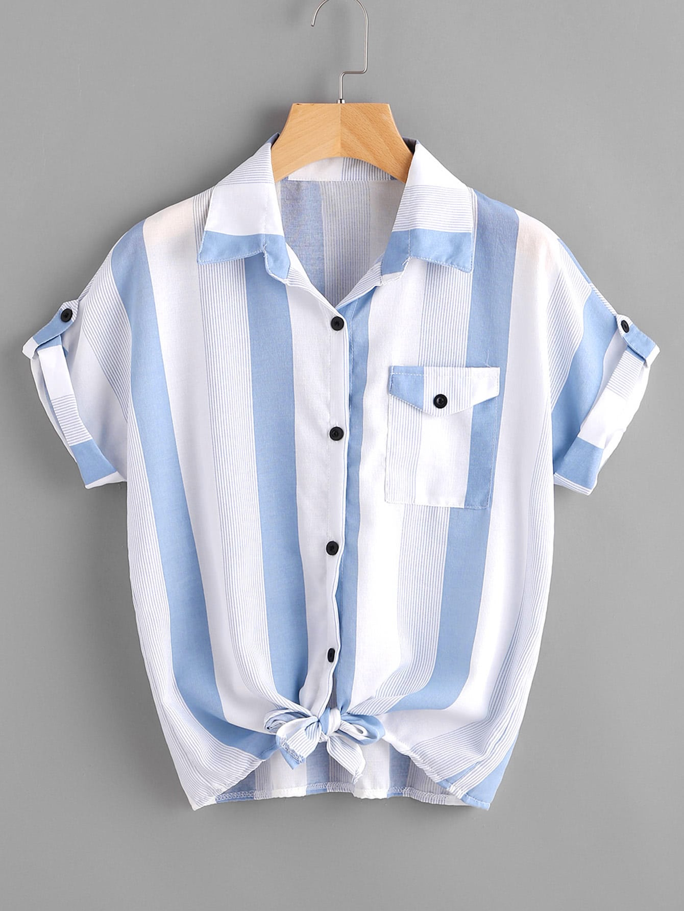 Фото Contrast Striped Roll Tab Sleeve Knotted Hem Shirt. Купить с доставкой