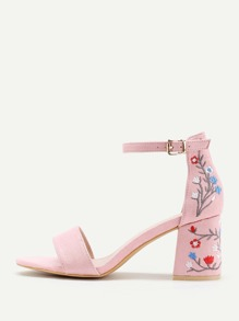 Flower Embroidery Two Part Block Heeled Sandals