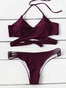 Ladder Cutout Wrap Bikini Set