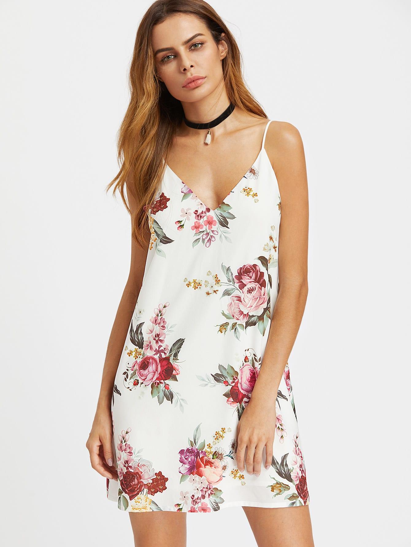 Купить Модное платье на бретельках с цветочным принтом, Andy, SheIn