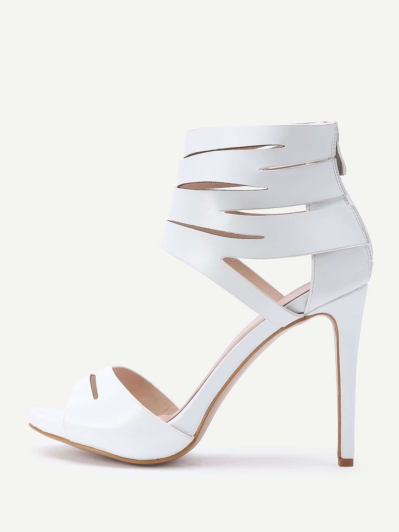 Cut Out PU High Heeled Sandals With Zipper Back shoes16041008
