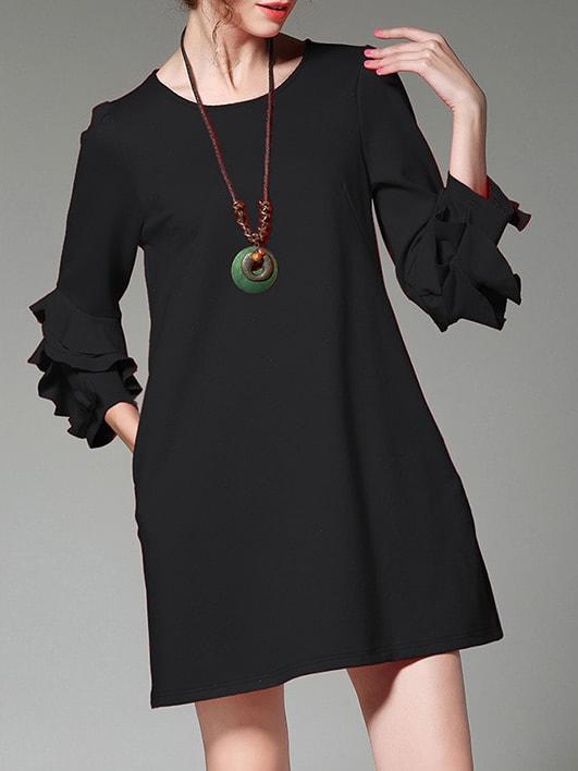 Фото Ruffle Sleeve Pockets Shift Dress. Купить с доставкой