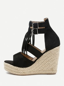 Tassel Detail Espadrille Wedges With Double Buckle