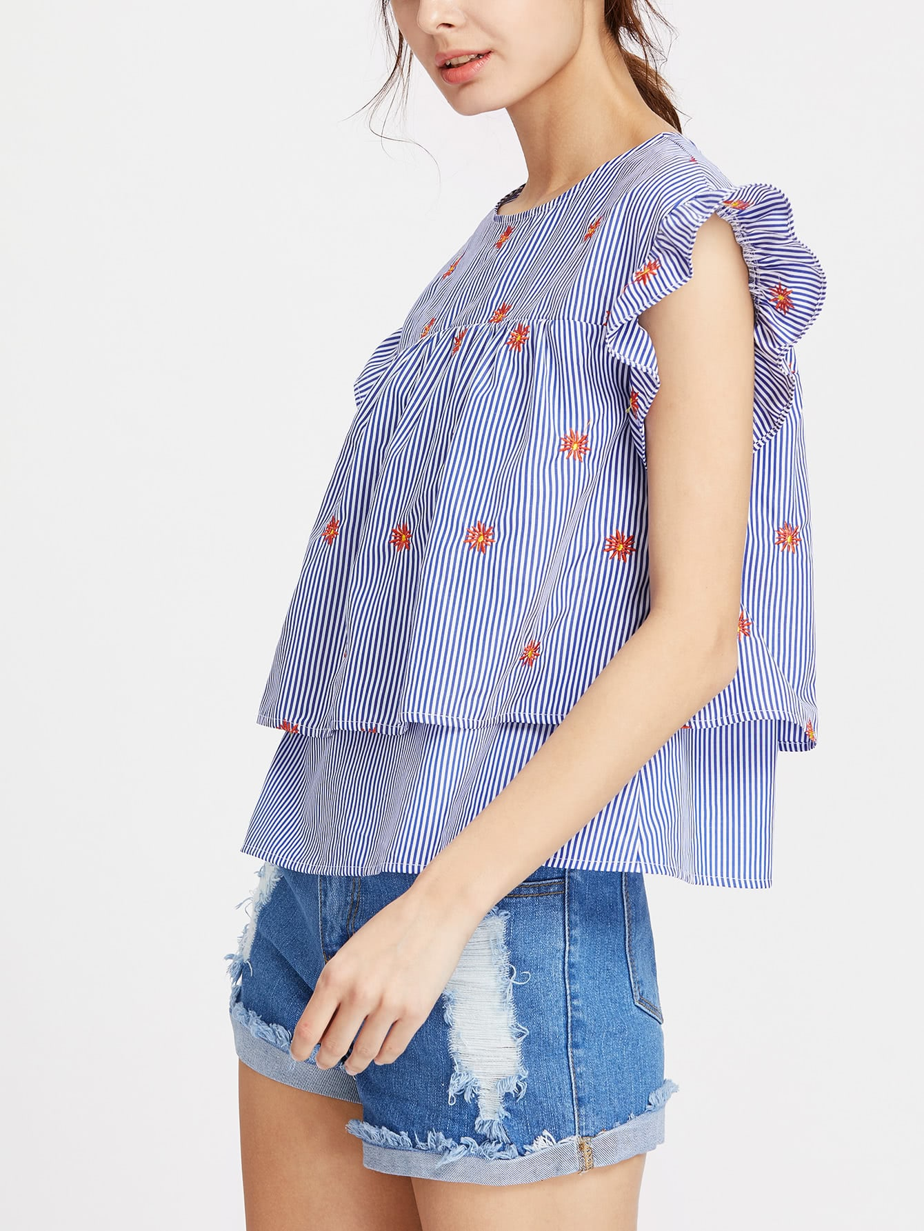 Фото Ruffle Cap Sleeve Flower Embroidered Two Layered Striped Top. Купить с доставкой