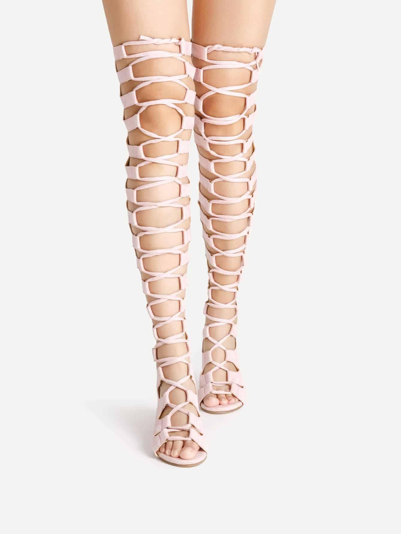 Ladder Cutout Zipper Back Gladiator Sandals