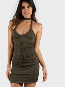 Choker V Neck Lace Up Dress OLIVE