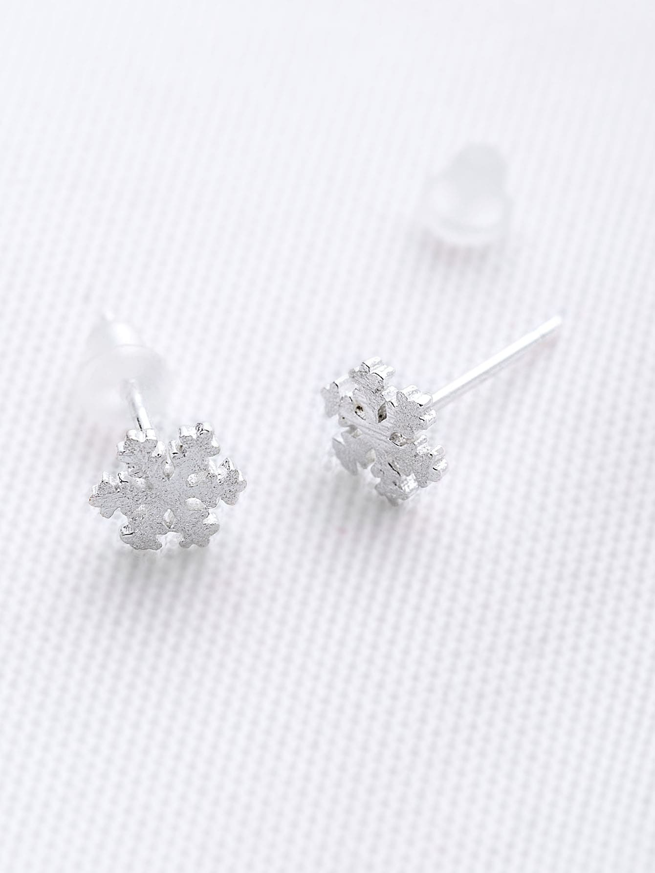 snowflake shaped stud earrings shein sheinside