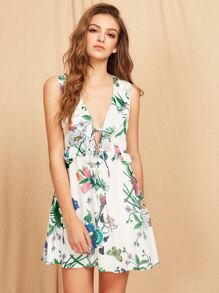 V-Neckline Ruffle Trim Floral Dress