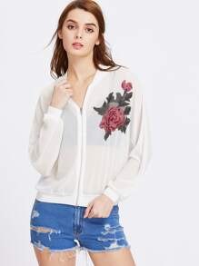 Embroidered Appliques Sheer Mesh Jacket