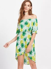 Flounce Layered Neckline Pineapple Print Dip Hem Dress
