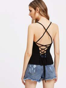 Lace Up Back Ribbed Knit Slim Fit Cami Top
