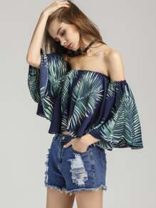 Palm Leaf Print Bardot Crop Top