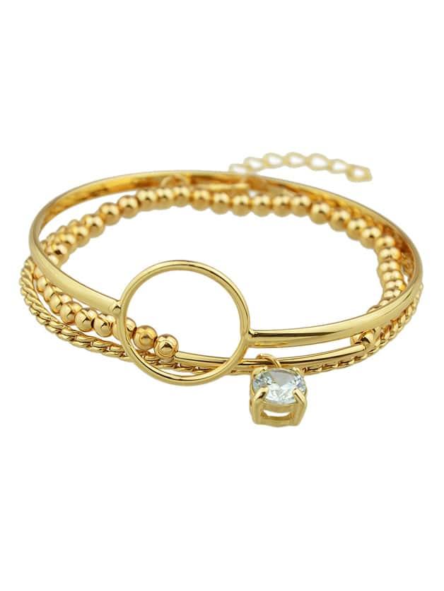 (3 Pcs/Set) Mixed Style Golden Rhinestone Chain Link Bracelets