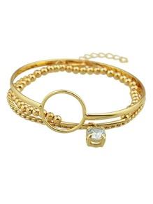 Bracelet chaîne blond avec strass (3pcs/ensemble )
