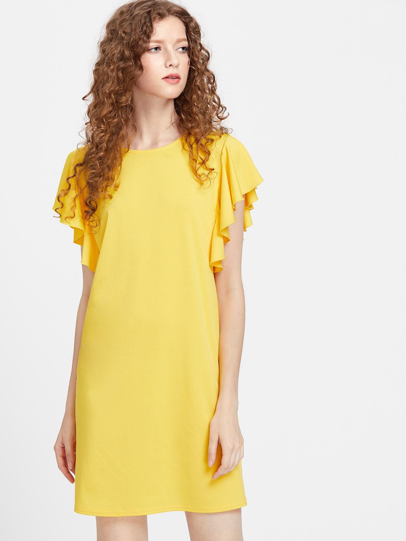 Фото Flutter Cap Sleeve Tunic Dress. Купить с доставкой