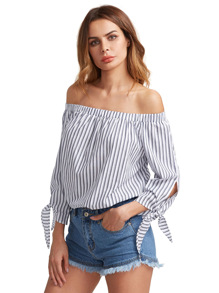 Bardot Vertical Striped Tie Cuff Blouse