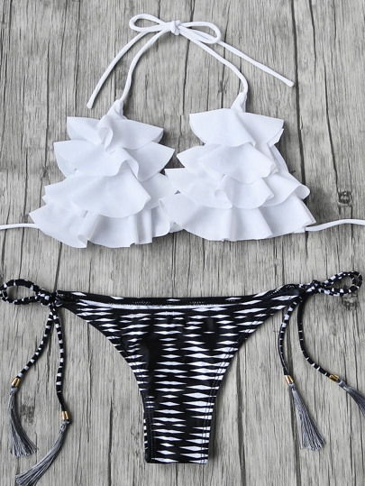 Volant Details Tassel Tie Bikini Set