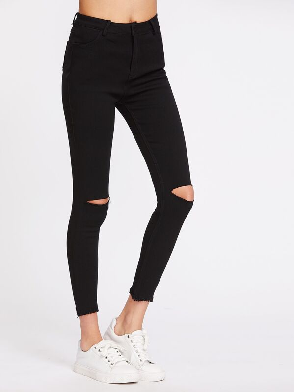 Knee Cut Frayed Hem Skinny Jeans, Carolina