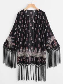 kimono mode Noir avec des impressions de franges et de graphiques