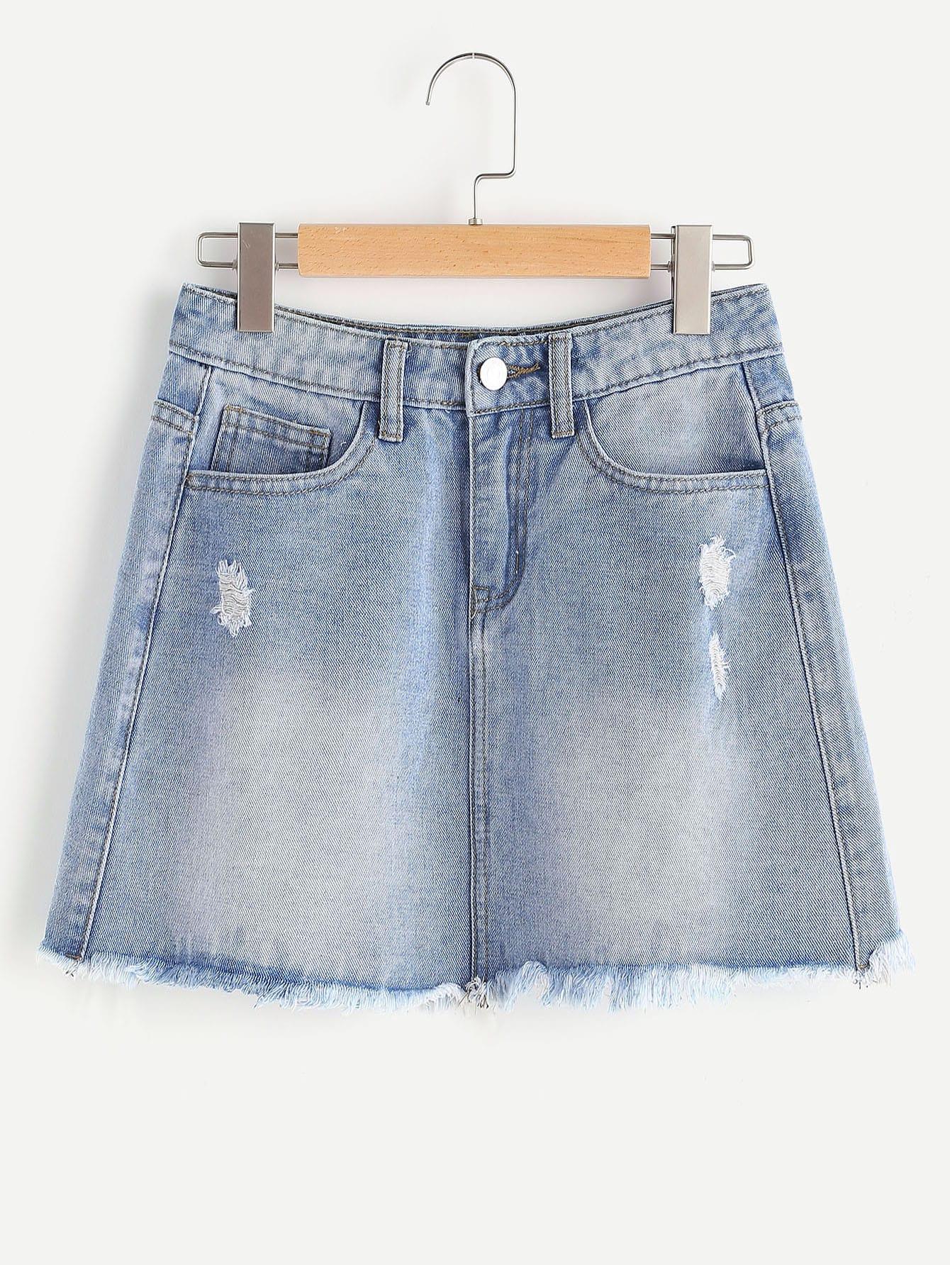Фото Faded Wash Frayed Hem Mini Denim Skirt. Купить с доставкой
