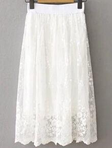 تنورة نسوية كلاسية خصر التصميم - بيضاء