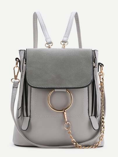 Grey Ring Design PU Backpack With Convertible Strap