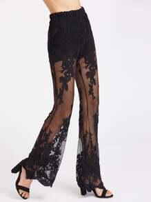 Knicker Insert Elastic Waist Lace Flare Pants