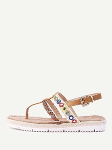 Braided Strap Toe Post Sandals