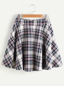 Zip Back Plaid Circle Skirt