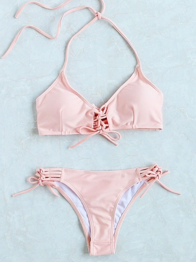 Ladder Cutout Lace Up Bikini Set