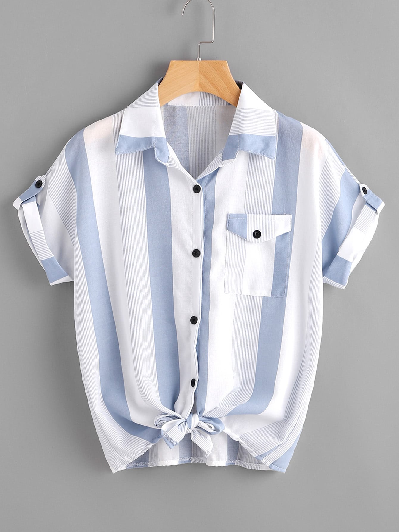 Striped Knotted Front Cuffed Shirt With Chest Pocket striped knotted front cuffed shirt with chest pocket