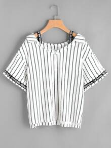Pinstripe Open Shoulder letter Tape Detail Top