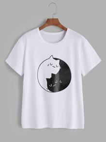 Cats Print Tee