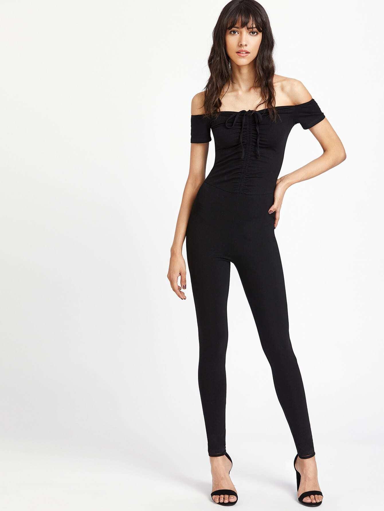Фото Shirred Drawstring Front Form-Fitting Unitard Jumpsuit. Купить с доставкой