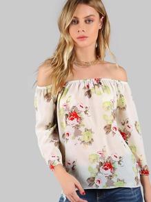 Flower Print 3/4 Sleeve Elasticized Bardot Top