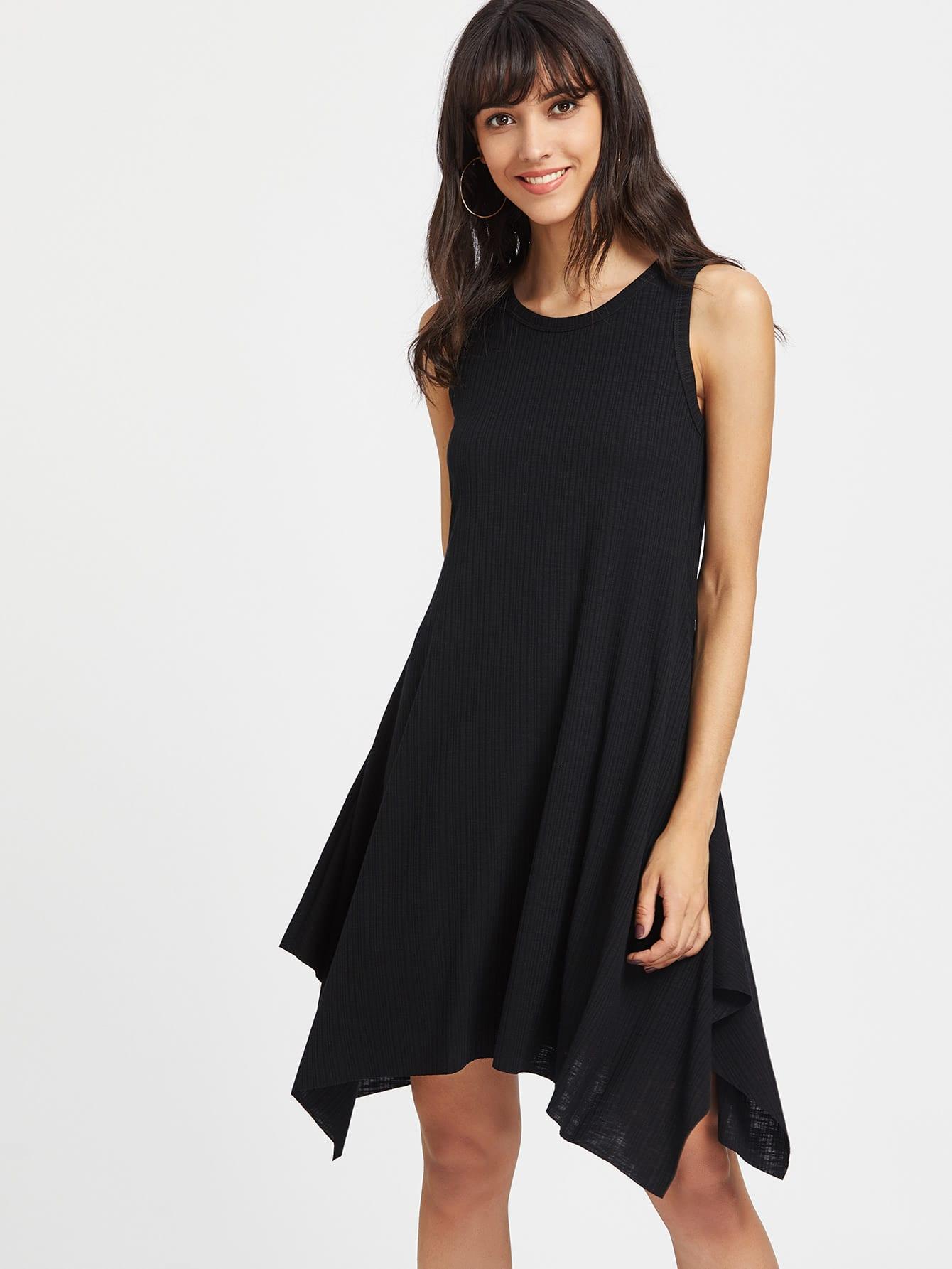 Rib Knit Hanky Hem Tank Dress dress170410704