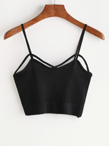 Black Criss Cross anteriore Cami Top