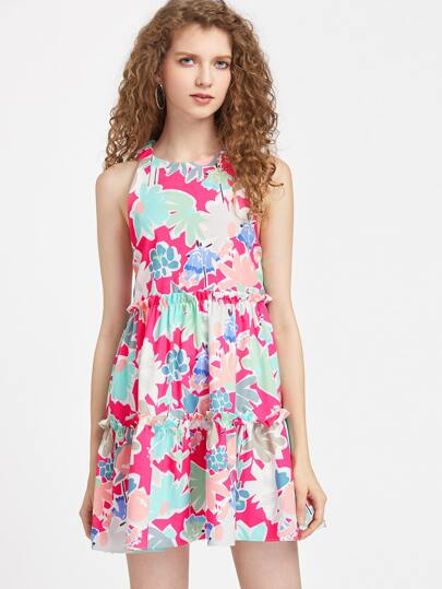 Frill Trim Open Back A Line Dress