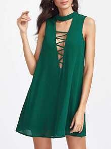 abito con scollo a V con cinghie e posteriore con apertura - Verde