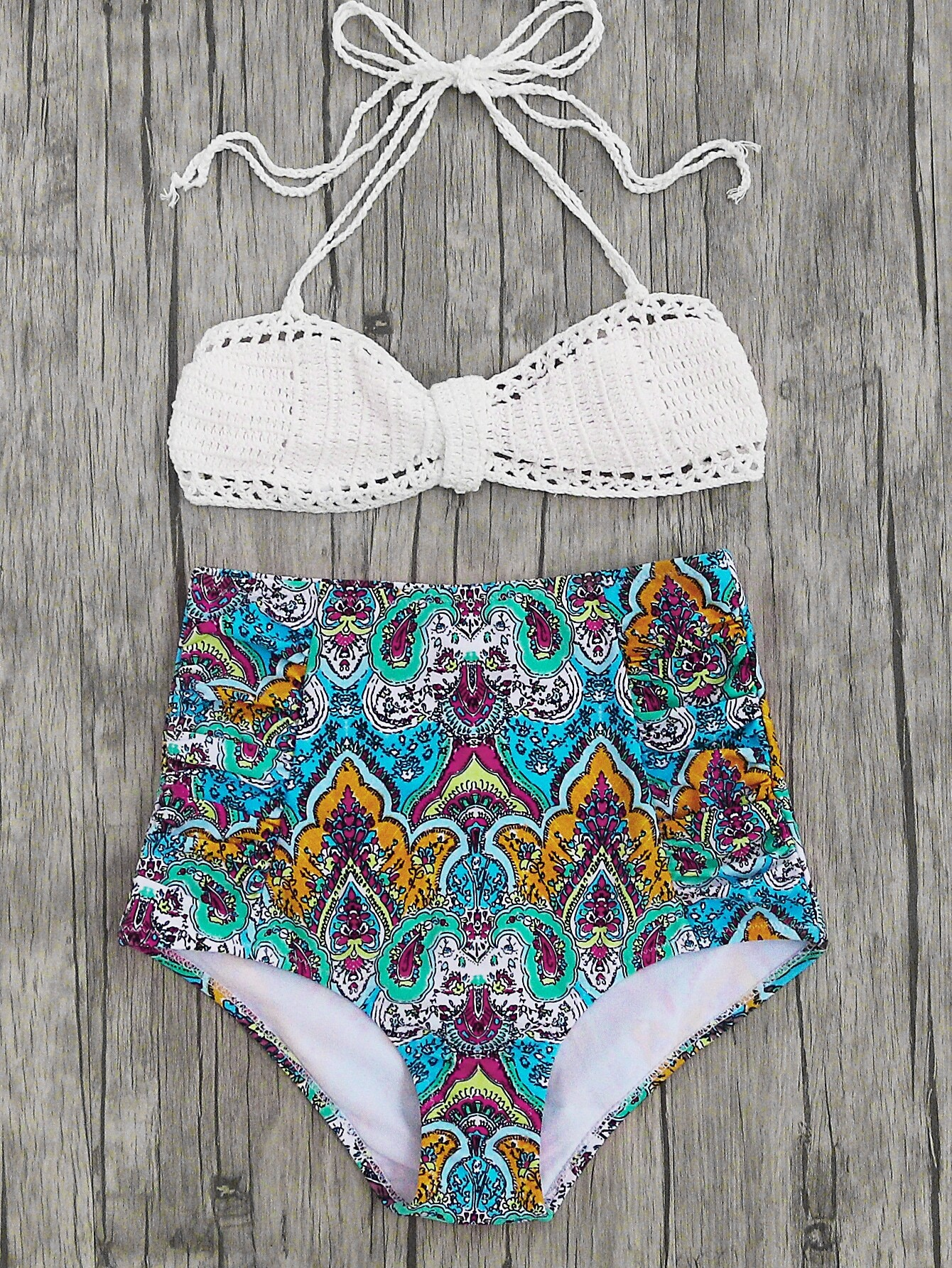 Tribal Print High Waist Crochet Bikini Set swimwear170407326