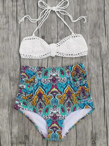 Tribal Print High Waist Crochet Bikini Set