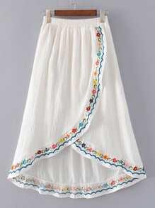 Elastic Waist Overlap Front Skirt