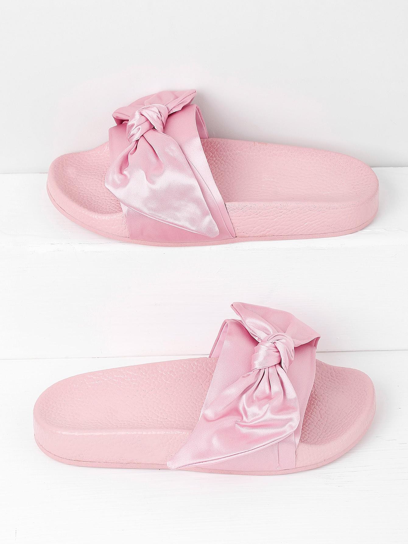 Фото Bow Tie Design Satin Slides. Купить с доставкой