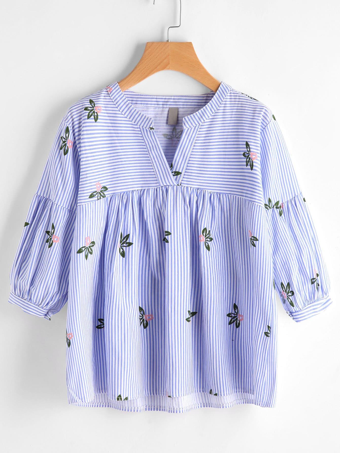 Фото V Neckline Floral Print Striped Smock Blouse. Купить с доставкой