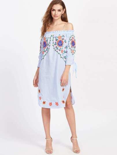 Split Side Knot Detail Embroidered Dress