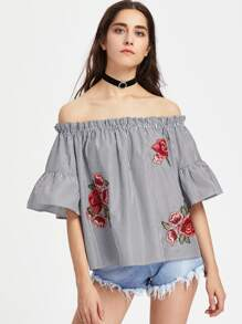 Embroidered Rose Applique Trumpet Sleeve Striped Bardot Top