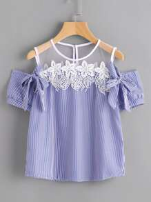 Vertical Pinstripe Contrast Lace Bow Tie Top