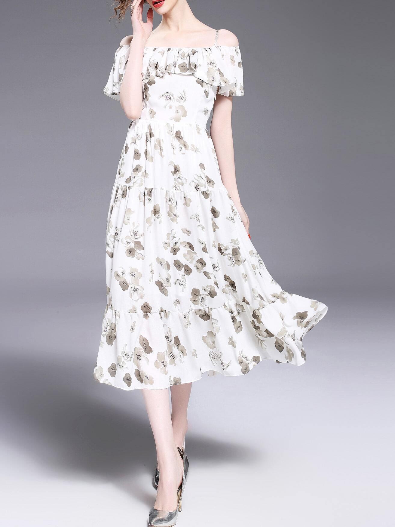 Фото Spaghetti Strap Flounce Print Dress. Купить с доставкой