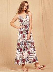 Deep-Plunge Neck Maxi Cami Dress